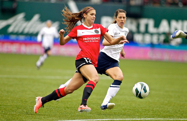 Portland Thorns forward Alex Morgan (13) controls the ball at JELD-WEN Field on April 21, 2013. (Craig Mitchelldyer/Portland Thorns FC)