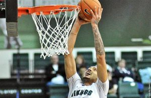 Senior forward Aaron Moore will lead the Vikings Saturday night against the Portland Pilots.