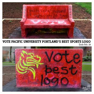 Pacific students painted this bench on campus to encourage voting.